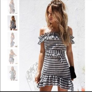 NWOT Sabo Skirt Gingham Off Shoulder Dress, Size S